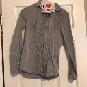 Cute Grey Business Casual Button Up Top